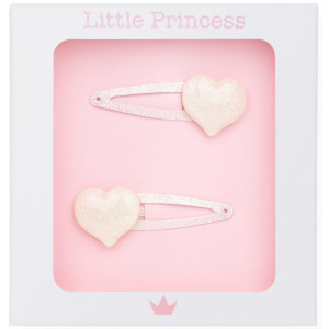 Little Princess Set 2 Clips Glitter Corazón Blanco